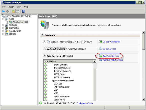 "Enabling ""IIS Metabase and IIS 6 configuration compatibility"" feature on Windows Server 2008."